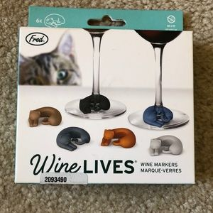 ⭐️HP⭐️ 🐱🍷Cat Wine Lives Glass Markers - set/6